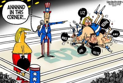 Walt Handelsman: Wrong Punching Bag...
