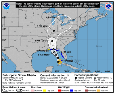 Current Map Of Louisiana.Subtropical Storm Alberto Latest Storm Shifts Further East