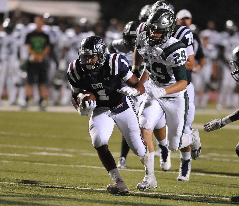 Mathew Lagrange catches three TDs, including the game-winner, as St. Thomas More gets past Plaquemine in 35-34 thriller _lowres