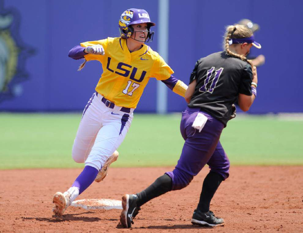WCWS-bound again: LSU softball beats James Madison twice to return to the Women's College World Series _lowres