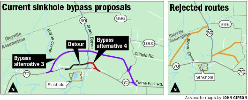 State officials focusing on two proposals for a possible bypass route around Bayou Corne sinkhole _lowres