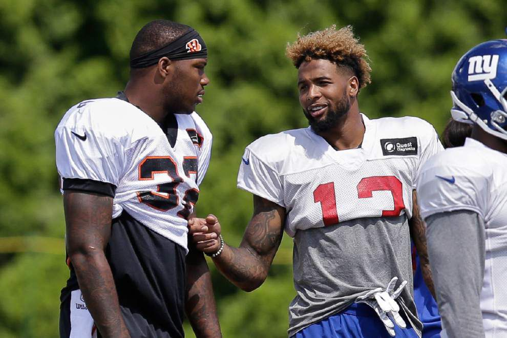 Ex-LSU teammates Jeremy Hill and Odell Beckham Jr. poised for a full, strong season _lowres