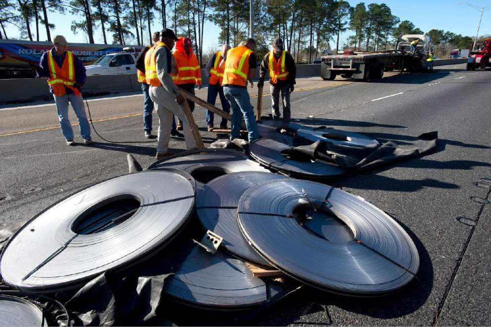 Lanes back open on I-12 where truck dropped load _lowres