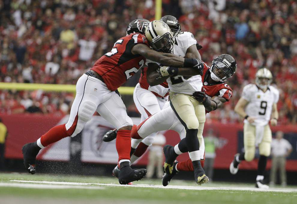 Having gashed the Falcons on the ground in the season opener, the Saints brace for a stouter Atlanta run defense in the rematch Sunday _lowres
