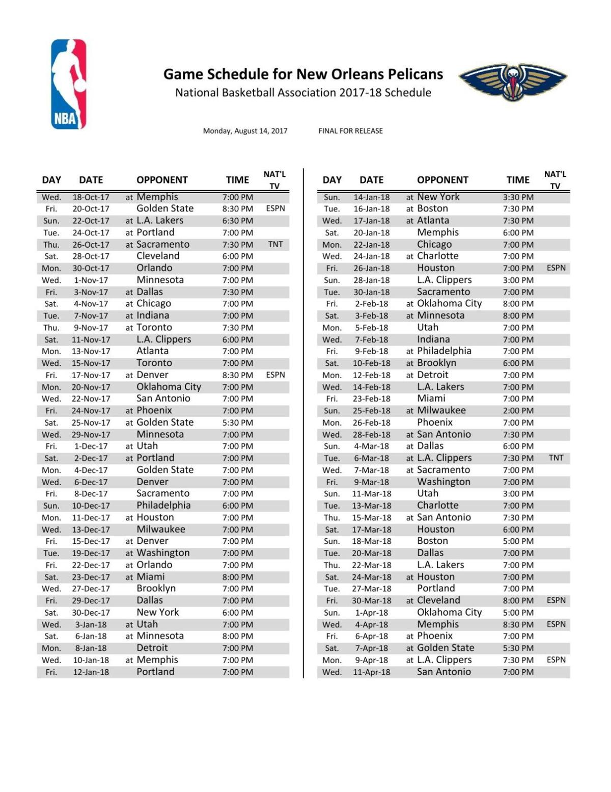 new orleans pelicans 2017-18 regular season schedule | | theadvocate