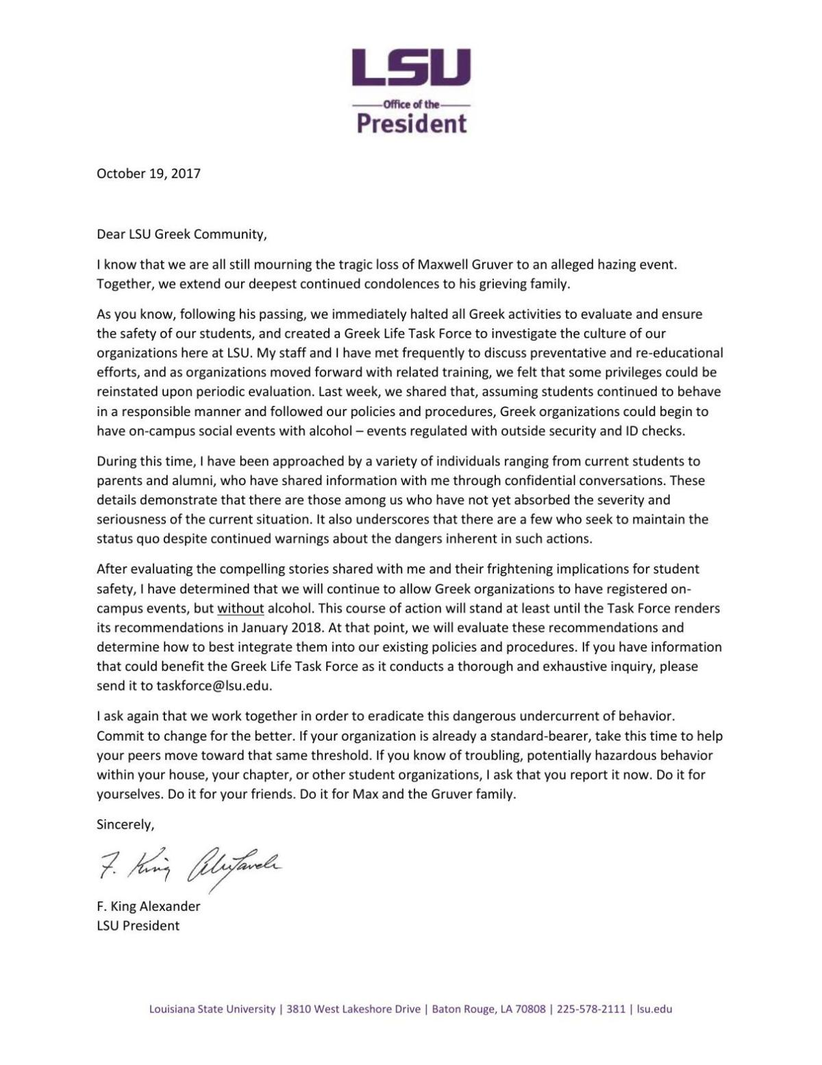 LSU President's Letter to Greek Life Reinstating Alcohol Ban