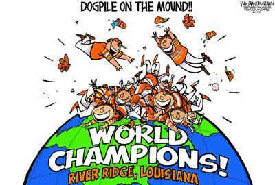 Walt Handelsman: River Ridge Boys Baseball Team on Top of the World!