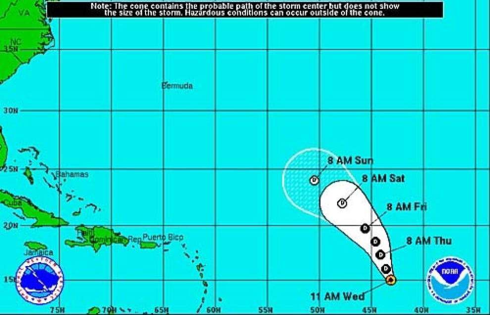 New tropical depression forms in central Atlantic, currently posing no threat to land _lowres
