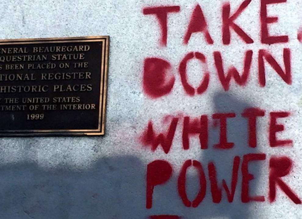 Report: New Orleans works to clean vandalized Confederate monuments _lowres