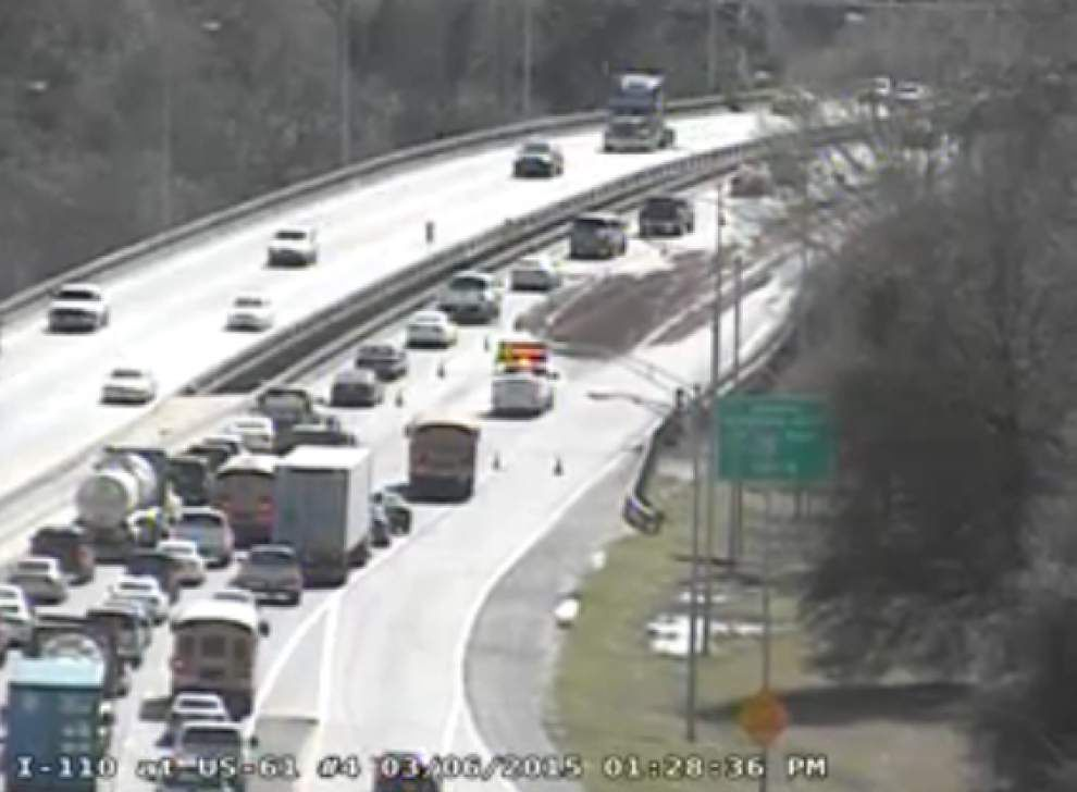 Interstate 110 North lanes reopened; traffic remains congested at I-10/110 split _lowres