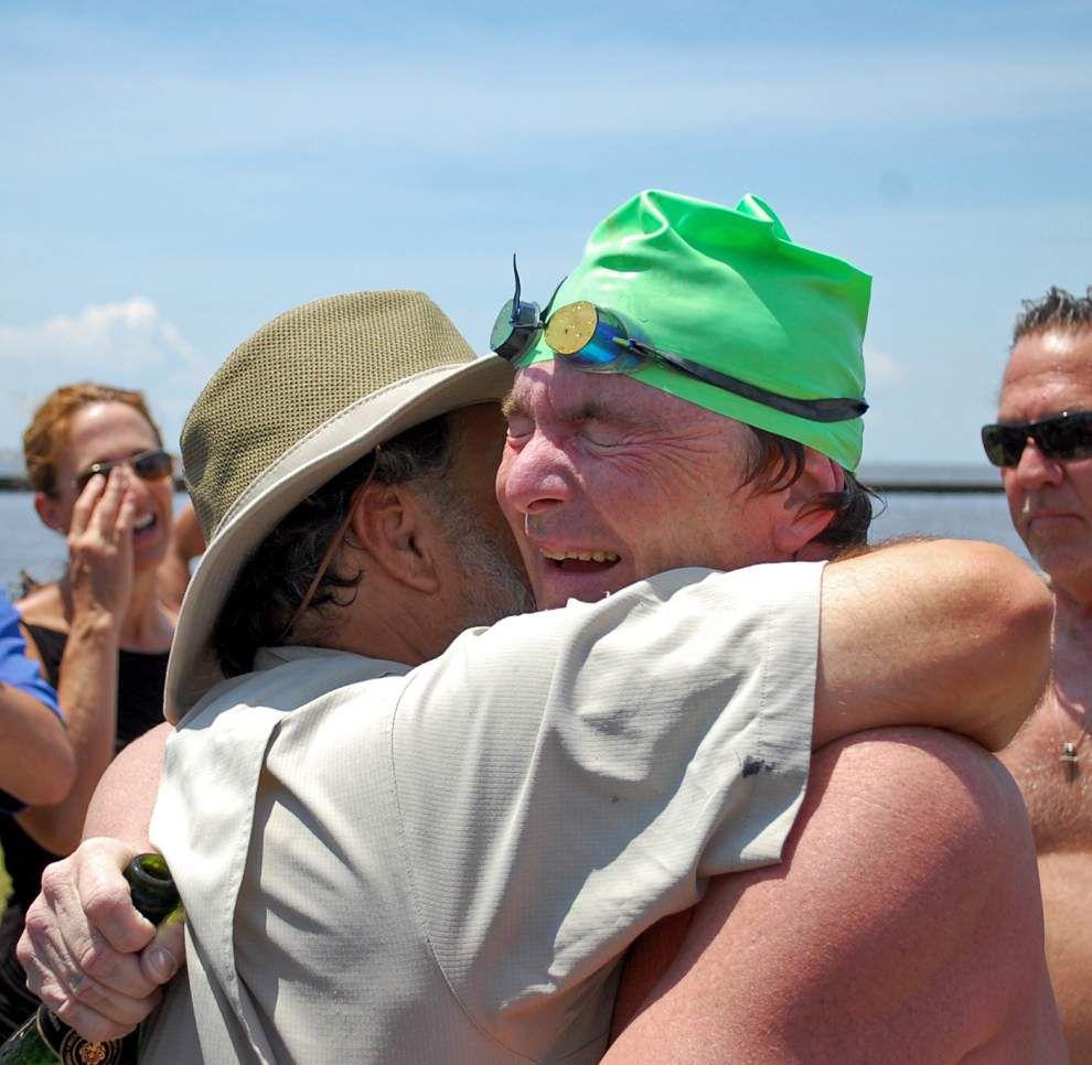 Man completes 25-mile swim across Lake Pontchartrain _lowres