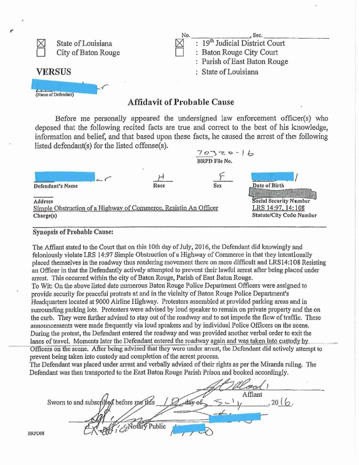 Sample of affidavits of probable cause for protesters