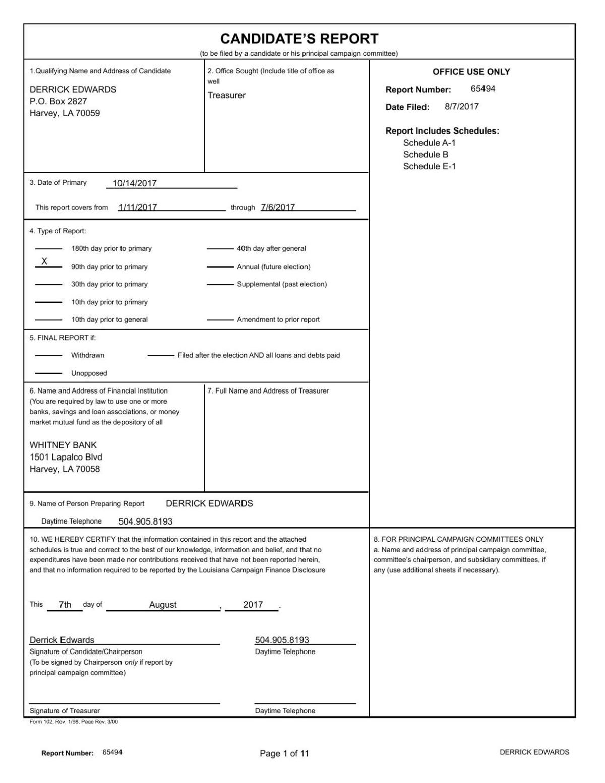 Derrick Edwards Campaign Finance Report