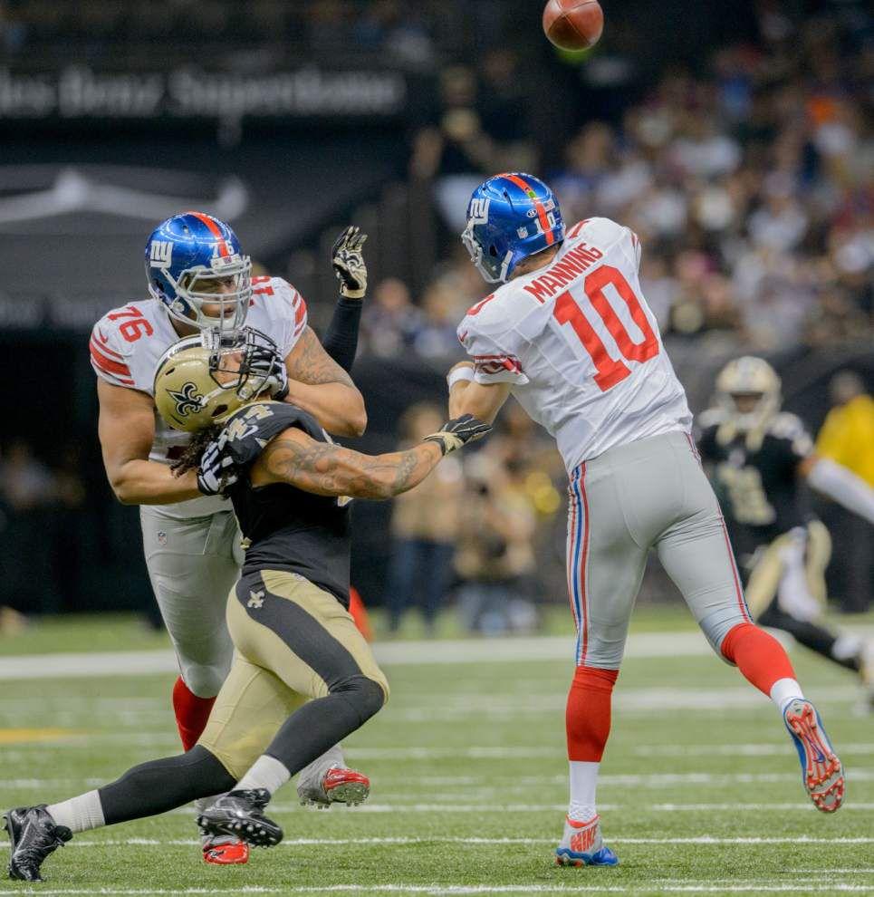 Saints linebackers Hau'oli Kikaha, Dannell Ellerbe back on practice field Wednesday _lowres