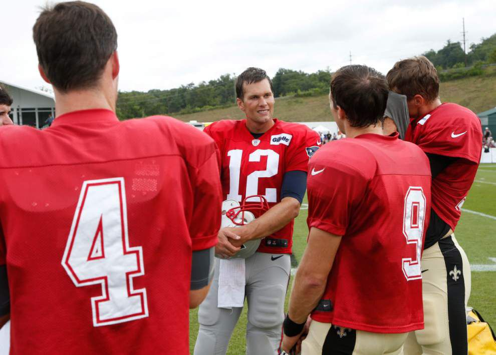 Photos: Drew Brees, Tom Brady chat; Saints, Patriots face off in practice, sign autographs _lowres