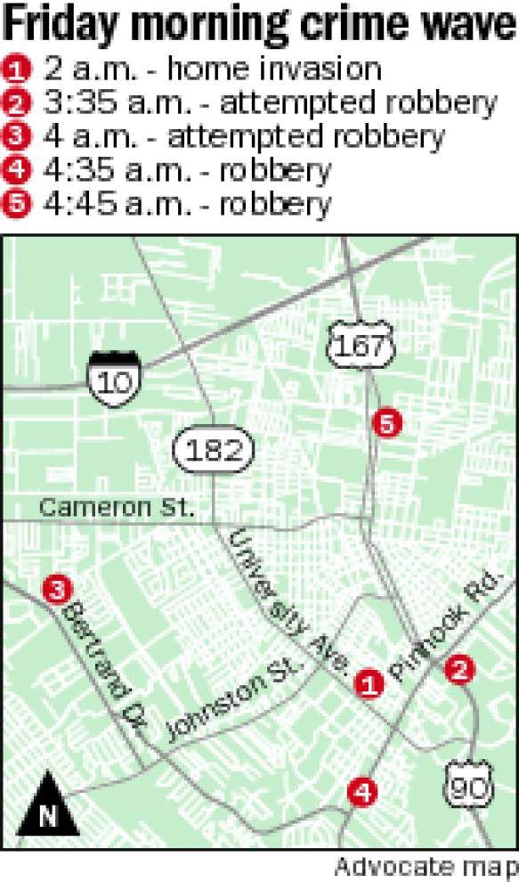 Lafayette police investigating series of violent crimes, all occurring within a three-hour span Friday morning _lowres