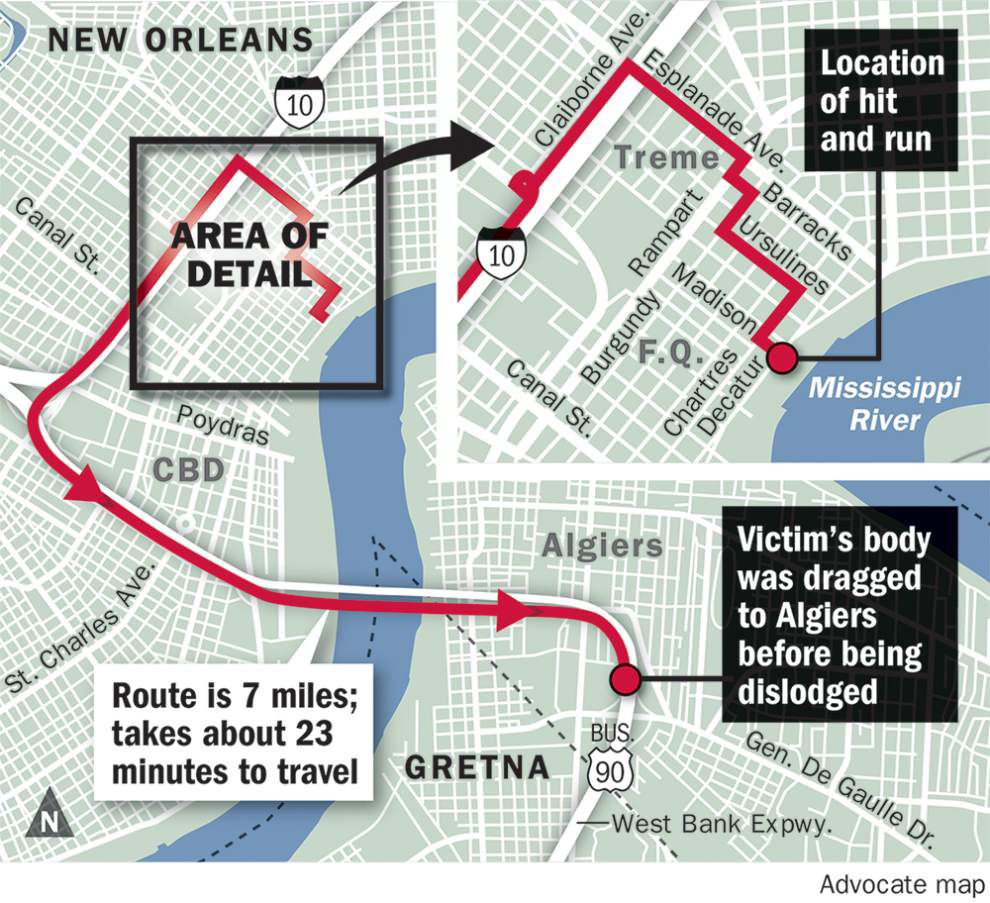 Map: New Orleans police lay out route New Year's Day hit-and-run driver took, killing tourist _lowres