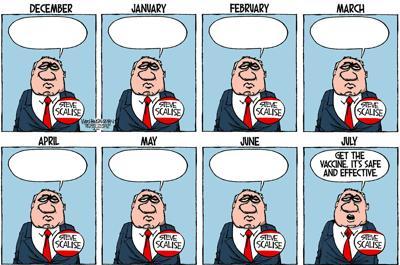 Walt Handelsman: ...January, February, March, April.......