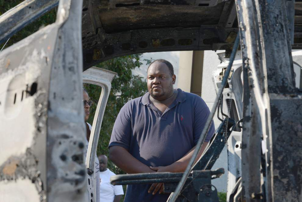 Truck catches fire on Bluebonnet Boulevard Sunday afternoon after owner purchased fuel _lowres