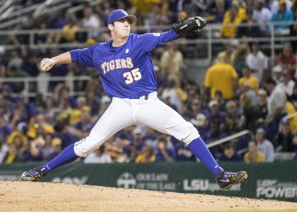 Alex Lange is set to pitch in Game 2 of LSU's NCAA regional, but who will handle Game 1? _lowres