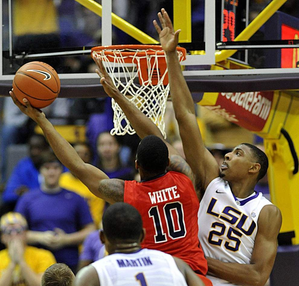 """LSU men's basketball coach Johnny Jones says injured forward Jordan Mickey """"should be available"""" for the SEC tournament _lowres"""