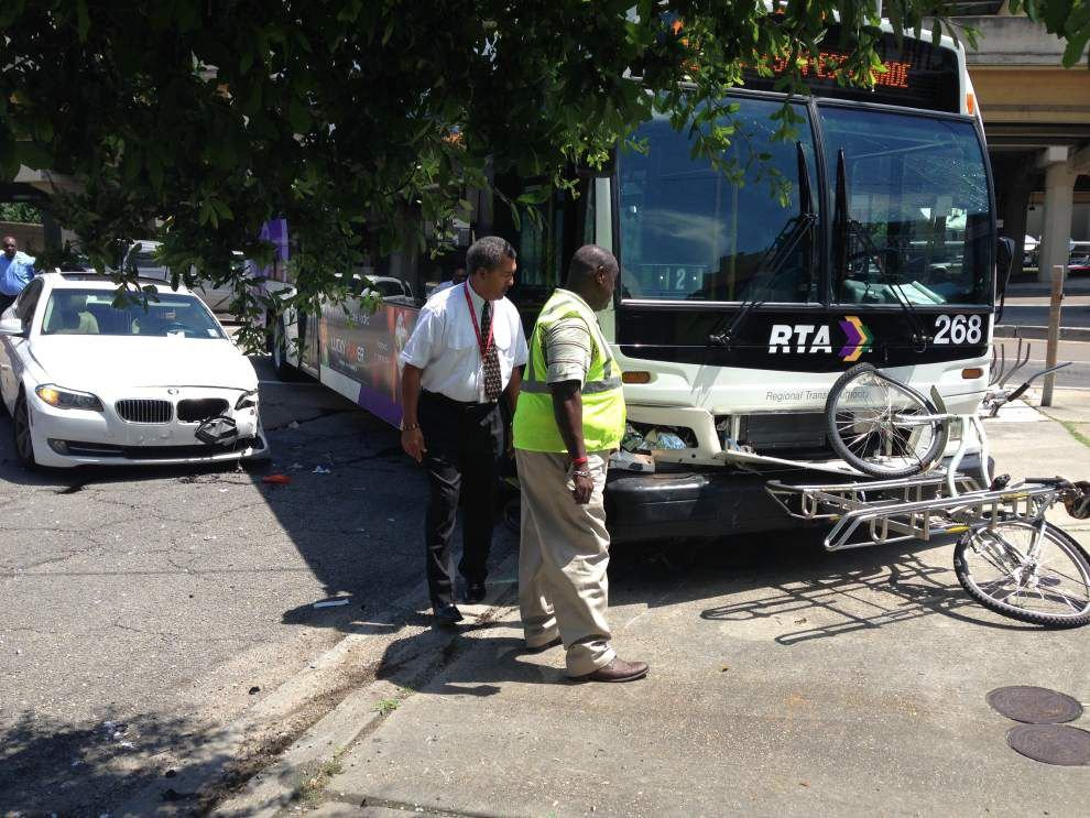 Six hospitalized after BMW hits bus in Central City on Monday morning _lowres