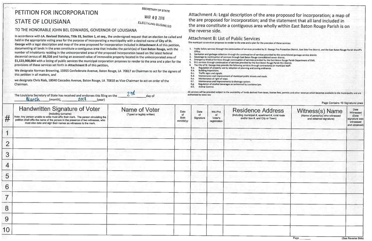 St. George Petition for Incorporation