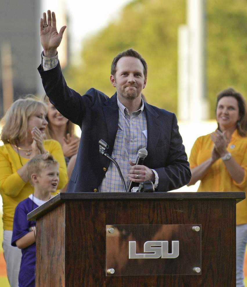 'I still can't believe it': LSU baseball icon Eddy Furniss' No. 36 retired in emotional ceremony at Alex Box Stadium _lowres