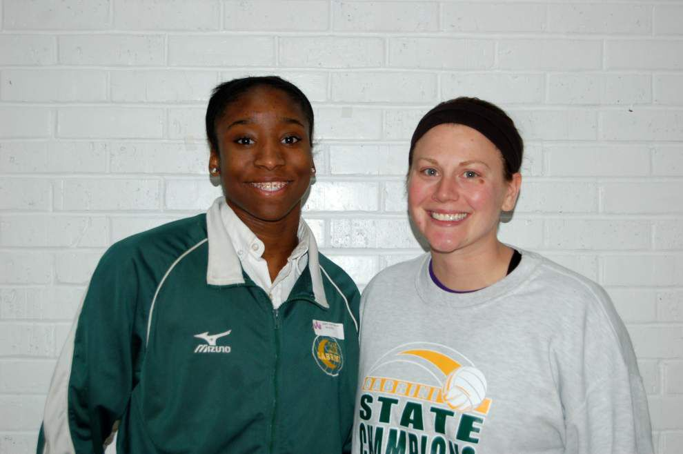 Cabrini volleyball coach and player honored _lowres