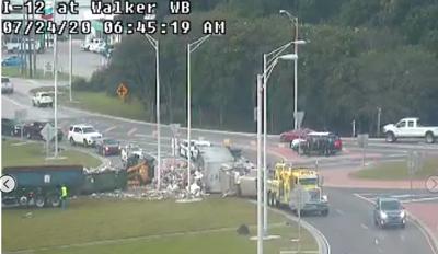 overturned box truck in Walker