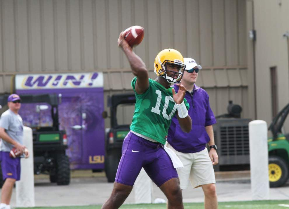 LSU camp report: Quarterback competition begins in separate practices _lowres