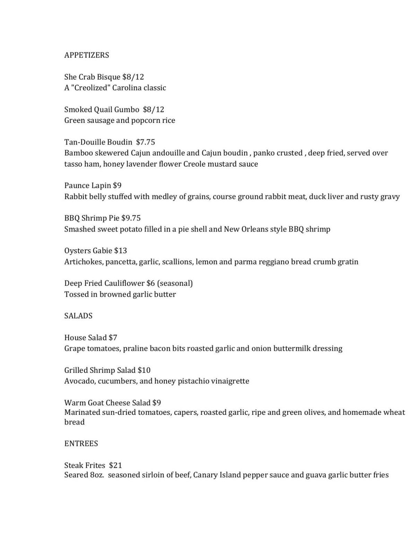 gabrielle menu