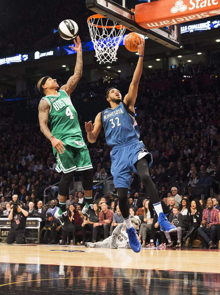 Minnesota's Karl-Anthony Towns wins Skills Challenge; Anthony Davis exits in first round _lowres
