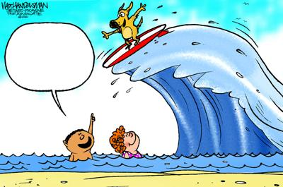 See if YOU can ride the wave to victory in Walt Handelsman's latest Cartoon Caption Contest!!