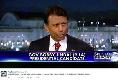 Report: Bobby Jindal 'drops head sadly,' wife Supriya's eyes fill with tears after campaign announcement _lowres