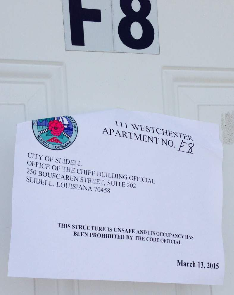 Slidell tenants scramble to find housing after apartment complex is shuttered _lowres
