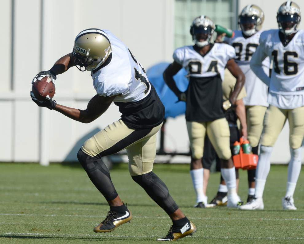 Saints receiver Marques Colston says he 'can't take the pounding day after day' in training camp _lowres