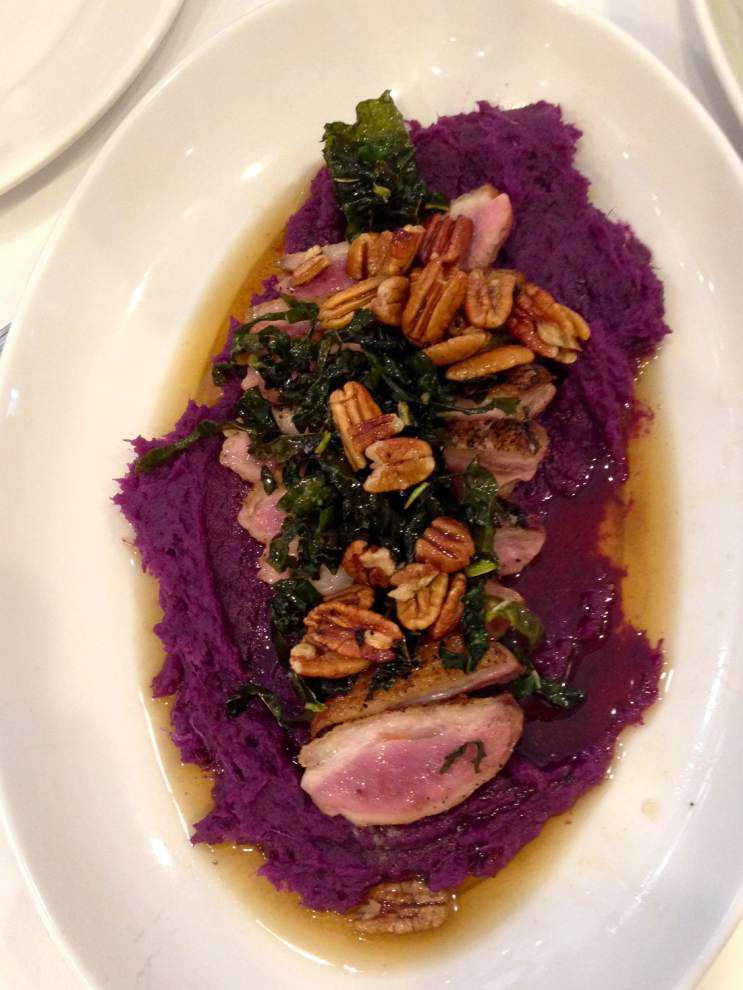 Seared Chappapeela Duck Breast With Purple Sweet Potato Mash, Crispy Kale and Praline Brown Butter _lowres
