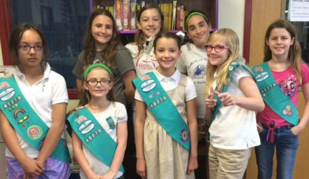 Belle Chasse Girl Scouts win recognition for school library project _lowres