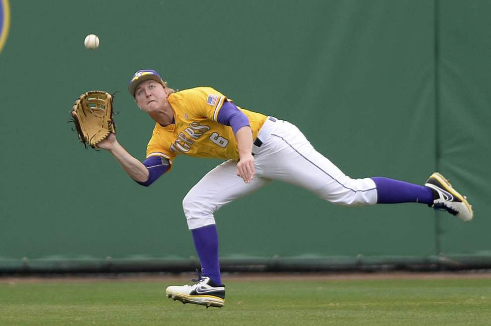 Andrew Stevenson — more specifically, his glove — is the center of attention for LSU _lowres