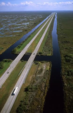 """Interstate 75 and """"Alligator Alley"""" in the Florida Everglades"""