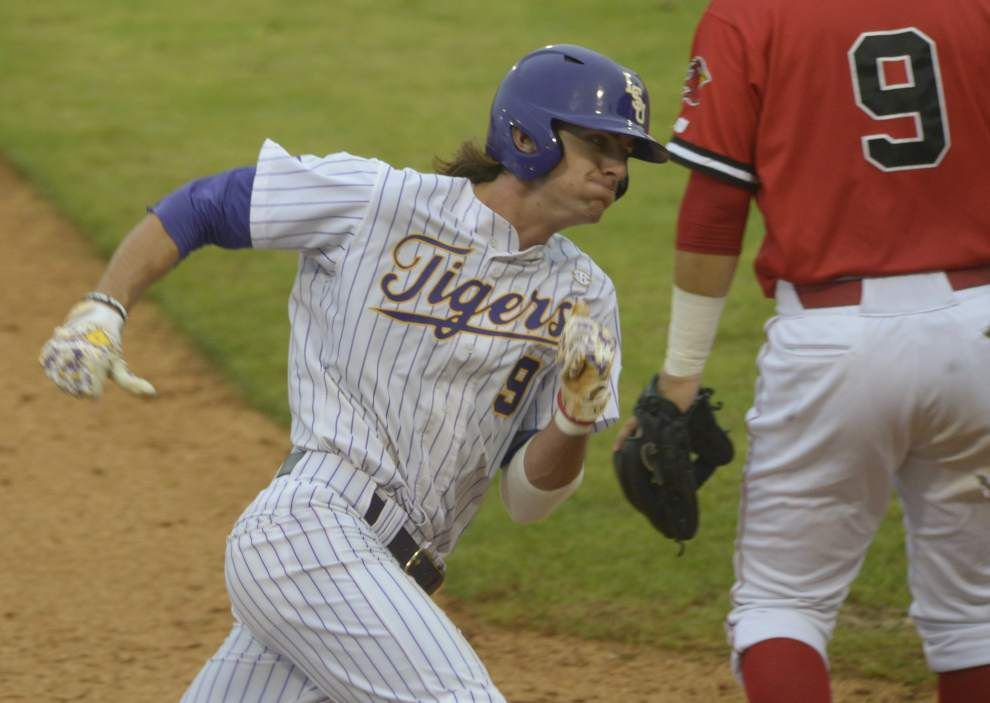 A move down: Mark Laird's drop in the lineup brings a trio of hits for LSU _lowres