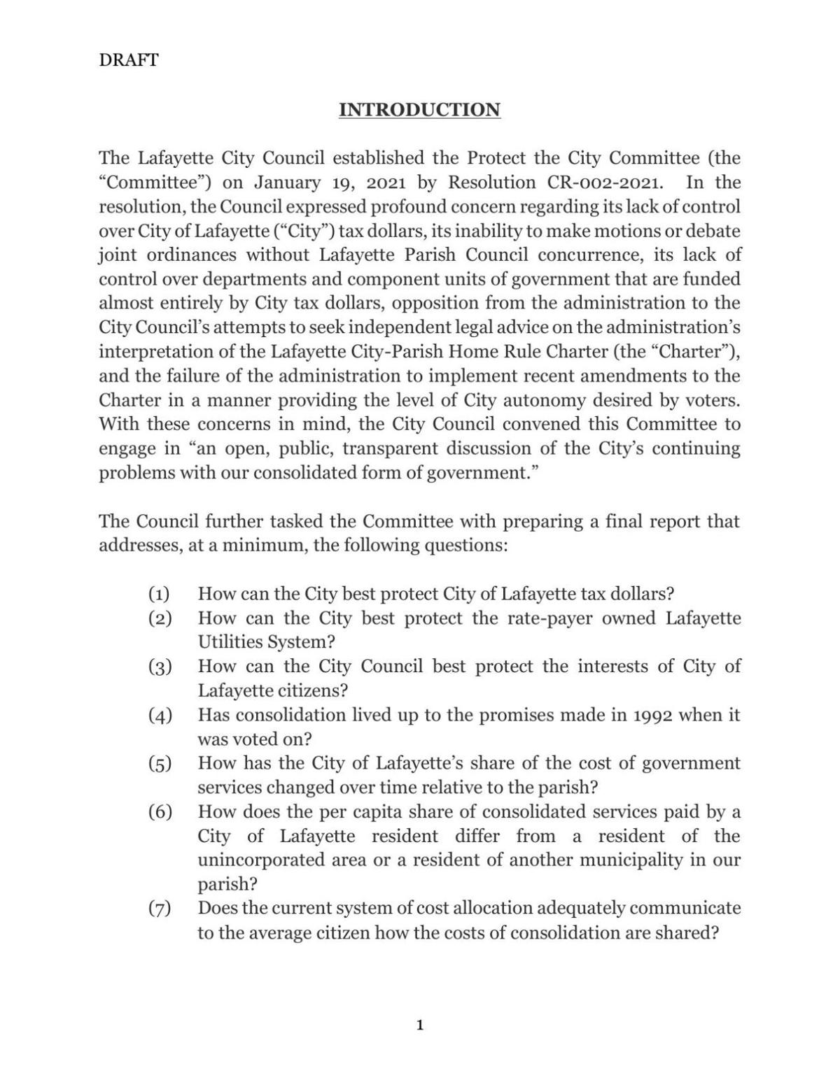Protect the City Committee draft report