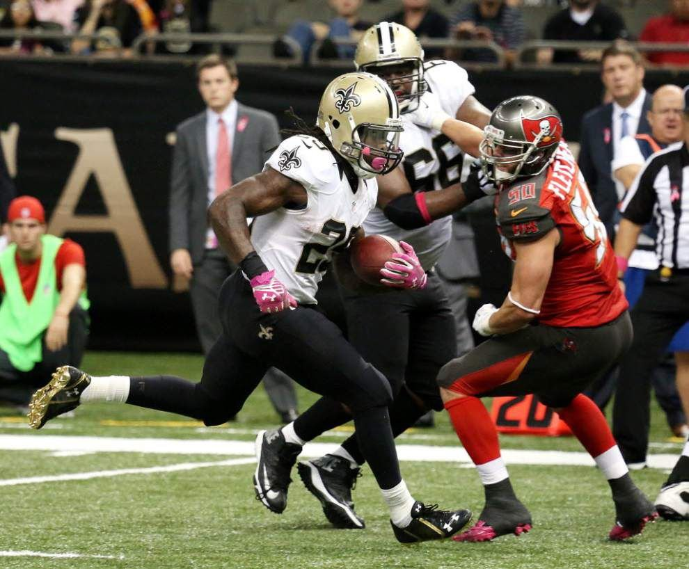 Saints running backs Khiry Robinson, Travaris Cadet are full participants in Thursday practice _lowres