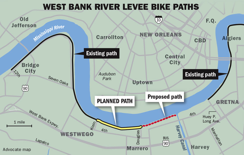 Levee bike path extension between Westwego and Marrero in the works ...