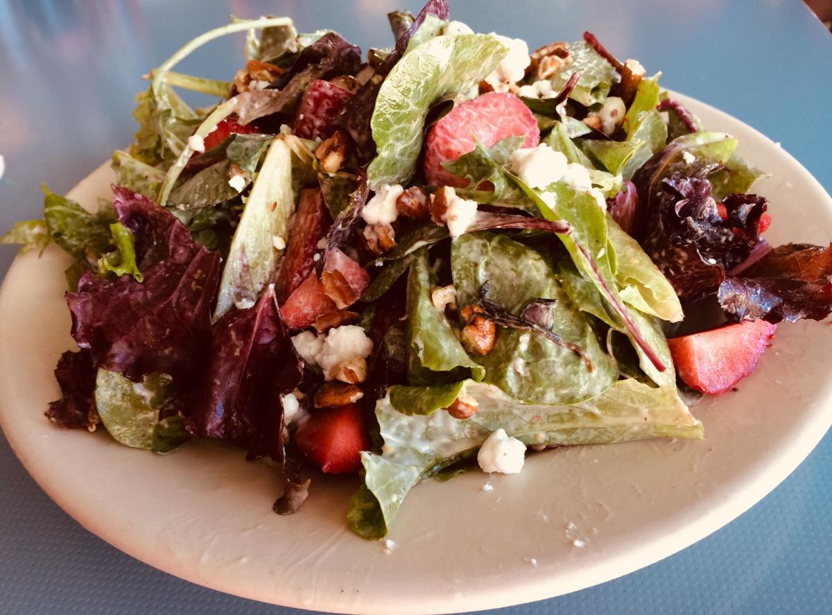 Strawberry salad with goat cheese pecans and creole mustard vinagrette High Hat 1.jpg