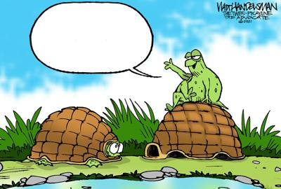 Who will come out of their shell and send in the BEST punchline for Walt Handelsman's latest Cartoon Caption Contest?!!