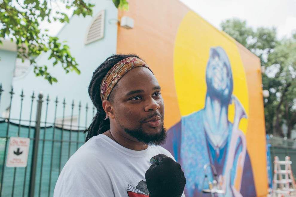 Local artist Brandan Odums creates cinema-style mural for N.O. Film Festival _lowres