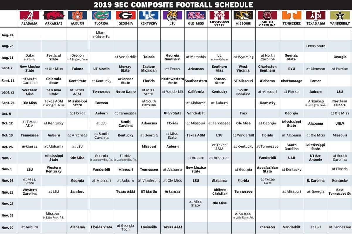 2019 SEC College Football Schedule