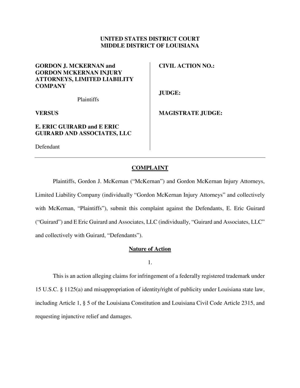 Read full lawsuit filed by Gordon McKernan